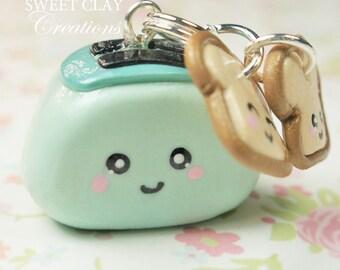 Teal Toaster Kawaii Charm Miniature Food Polymer Clay Miniature Kawaii Charms Handmade Gift Girl