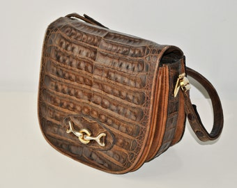 Vintage Leather Saddle Bag / Brown Leather Shoulder Bag / Women Purse / Golden details