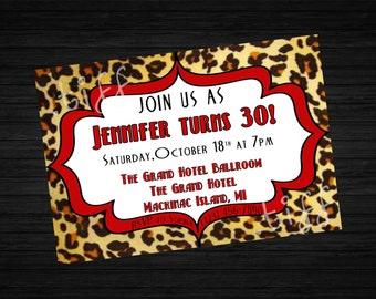 Leopard Print Printable Birthday Invitation