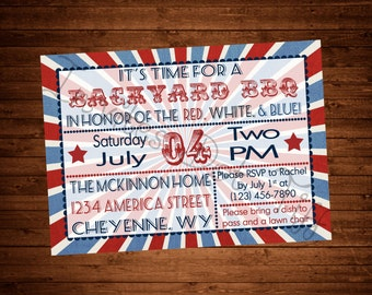 Burlap Starburst 4th of July Party Invite (Memorial Day & Labor Available Too!) (Printable)
