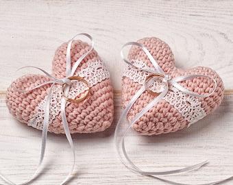 Wedding Ring Pillow Ring Bearer Pillow Engagement Ring Holder Heart Bearer Crochet Pillow for Bride and Groom Cake Topper