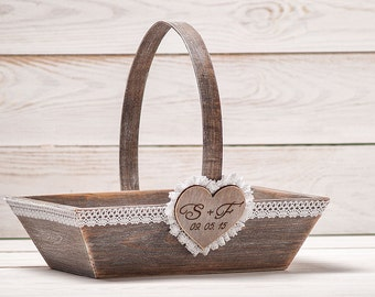 Personalized Rustic Flower Girl Basket Custom Wedding Basket Bridal Basket Wedding Favors Holder  Barn Wedding