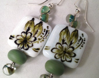 Ceramic tile beads with lampwork and boro bead dangle earrings