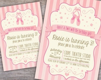 Prima Ballerina Ballet Birthday Invite with Free Shipping or Personalized Printable