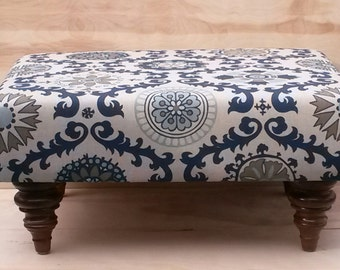 Upholstered Ottoman Coffee Table - Tan and Blue