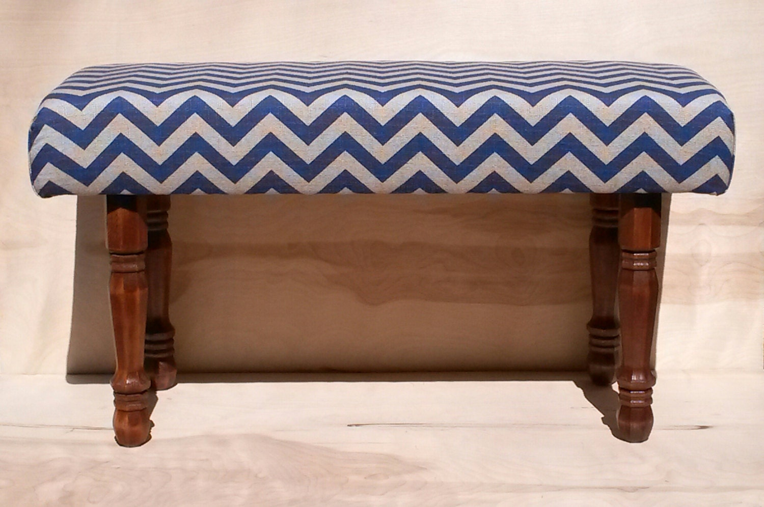 Upholstered Bench Blue And Tan Chevron