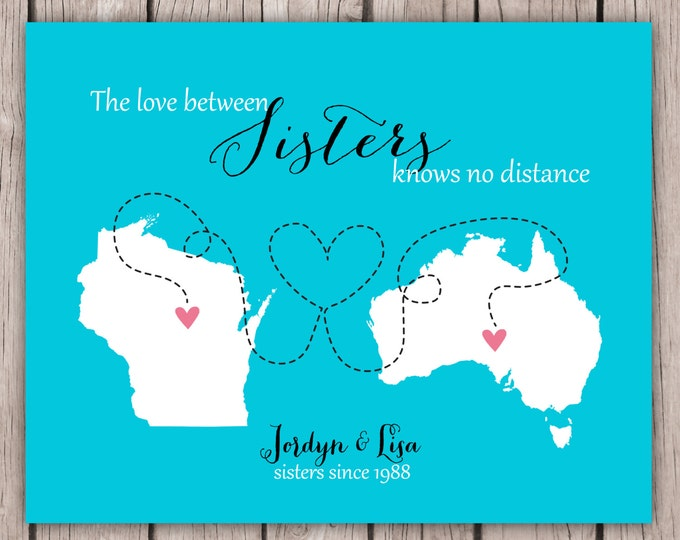 Sister Birthday Gift, Going Away for Best Friend, Long Distance, State Love World Print, Step Sister, Daughter, Cousin, Graduation present