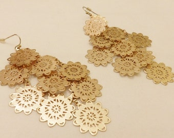 Large Gold Tone Flower Disc Earrings