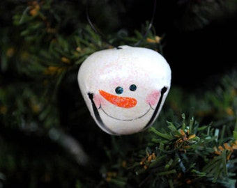 6 SNOWMAN Jingle Bell Ornaments - perfect embellishment for gifts bows, wreaths, garlands