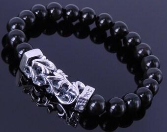 Handmade Men Women Gemstone Bracelet Black Obsidian 925 Sterling Silver Charm DiyNotion BR269