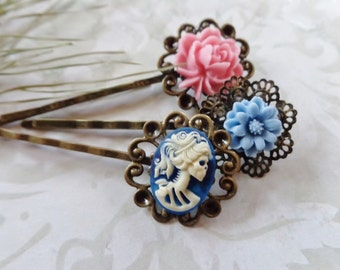 Set of 3 Skull And Roses Hair Clips