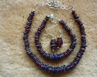 Purple thunder boro bead necklace bracelet and earring set.