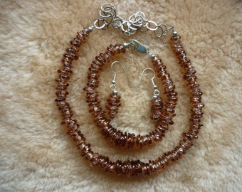 Cinnamon handblown boro bead necklace bracelet and earring set