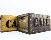 Solid Reclaimed Vintage Pine Wood Crate with Café stamp on the sides - Hand Made