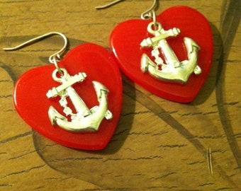 Red Heart with Silver Nautical Anchor Accent