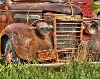 Vintage GMC Truck Photography Print, Brown farm truck