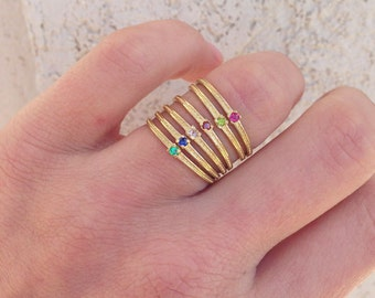 20% off- SALE!! Any Birthstone Ring  - Thin Gold Ring - Stacking Ring - Gold Stack Ring - Hammered Ring - Gold Tiny Ring - Slim Band