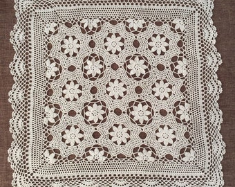 Square crochet table cover for home decor, 100% handmade table topper, Nice crochet pattern tablecloth ~ New Crochet Pattern