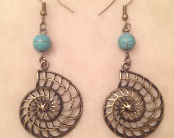 Bronze Shell Turquoise Bead Charm Earrings
