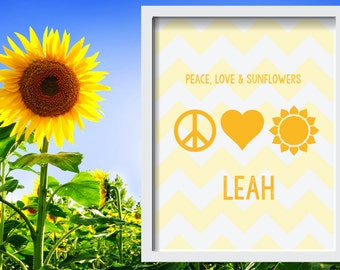 """Peace, Love & Sunflowers Personalized Baby or Kid; 8""""x10"""" or 11""""x14""""print, Original Design, Custom Color, Baby Shower Gift"""