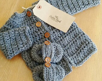 Organic Crochet Baby Cardigan & Shoes. Baby shower, baptism, new baby gift. Made to order