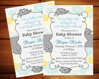 Blue, Yellow and Grey Baby Shower Invitation ............... Digital Download