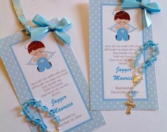 12 Baptism Boy favors bookmark with mini rosaries included-Christening Baptism Boy favors- baptism boy favor- boy baptism- baptism favor