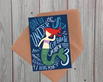 Little Mermaid or Pool Party Birthday Invitation,handtype, DIY or Prints