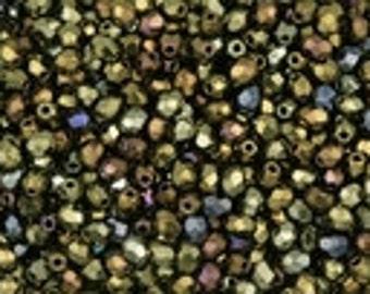 Czech Fire Polished 3mm Facet Rounds - Iris Brown - 50 Beads
