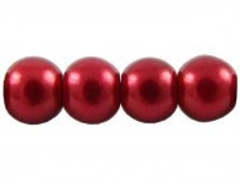 Czech Glass Pearl - 8mm - Red - Pack 20
