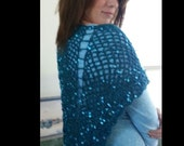 Shawl, Crochet Shawl,Swanky Shawl, Sequins, Handmade, Evening Shawl, Summer Shawl, Gift idea,