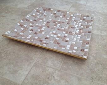 Large Vintage 1960s Inlaid Tile Tray MCM Mid Century