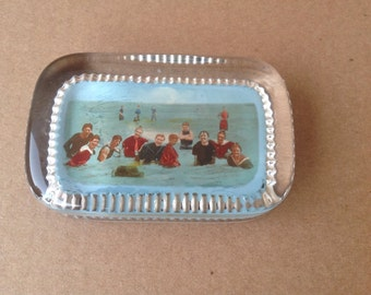 Vintage Coney Island Glass Graphic Paperweight