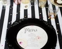 Black White Stripe Satin Monochrome Tablecloth Wedding Event Decor Minimalist