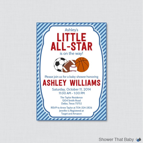 sports themed baby shower invitation printable blue baby shower