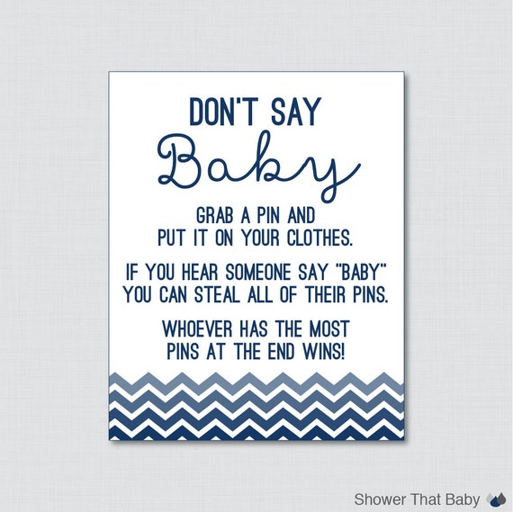 don 39 t say baby baby shower game in navy ombre chevron printable
