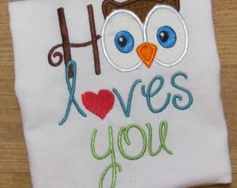 Hoo loves you, owl shirt, custom owl, short sleeve, childrens shirt, made to order,boutique owl