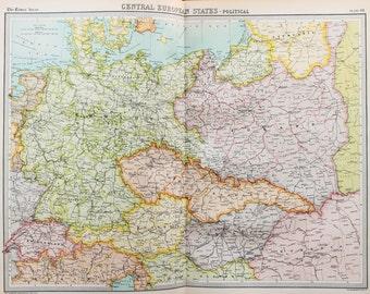 Huge 1922 Antique Map, Central Europe Map, Political