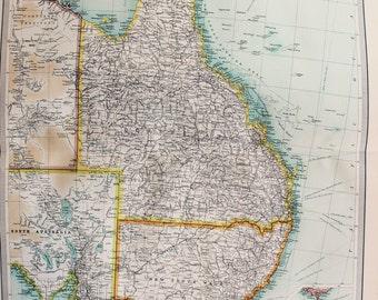 Huge 1922 Antique Map, Australia, Queensland, Victoria, New South Wales
