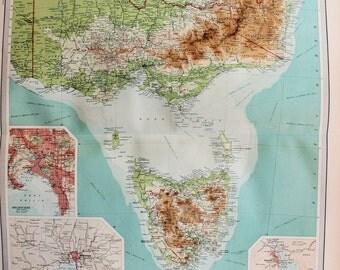 Huge 1922 Antique Map, Australia, Victoria, Tasmania, Melbourne