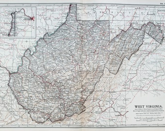 Antique Map : West Virginia, USA, US State Map. Encyclopedia Britannica, 1890s