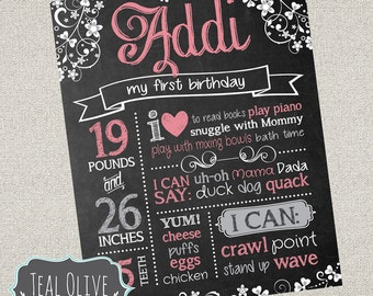 Chic Chalkboard Birthday Sign - Girl First Birthday ChalkBoard Poster - Shabby Chic - Birthday Sign - Digital Print