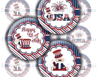 4th of July Bottle Cap Images. Digital 1 Inch Circles. Hair Bow Center, Badge Reel, Pendant Necklace, Key Chain. Digital Collage Sheet. 160