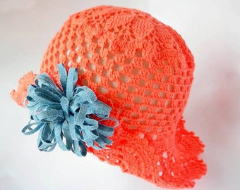 Girl Sun Hat, Organic Cotton Baby Hat, Coral Lace, Summer Girl Hat, Trend 2016, Hand Knitted baby clothes
