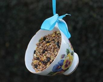 Teacup bird feeder, garden ornament, bird lover's gift. vintage bird feeder, gardeners gift, cottage chic garden decor.
