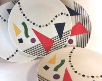 Set of Four Retro Eighties Plates - Triangles Lines Circles- Color Block - Red Blue Yellow - 80s- on White with Black Stripes and Dots
