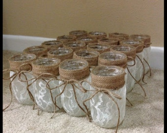 20 Mason Jars W/ Burlap Lace Detail Candle Holder. Mason Jar Centerpiece. Lace Mason Jar. Burlap Lace Mason Jar. Centerpiece. Candle Holder.