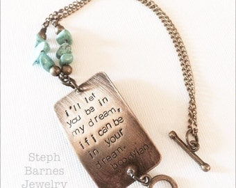 Bob Dylan bracelet with turquoise detail in bronze