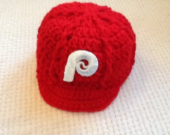 Philadelphia PHILLIES Newborn Crochet Baseball Cap - Photographer Prop