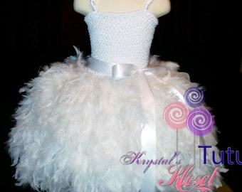 White Feather Tutu Dress
